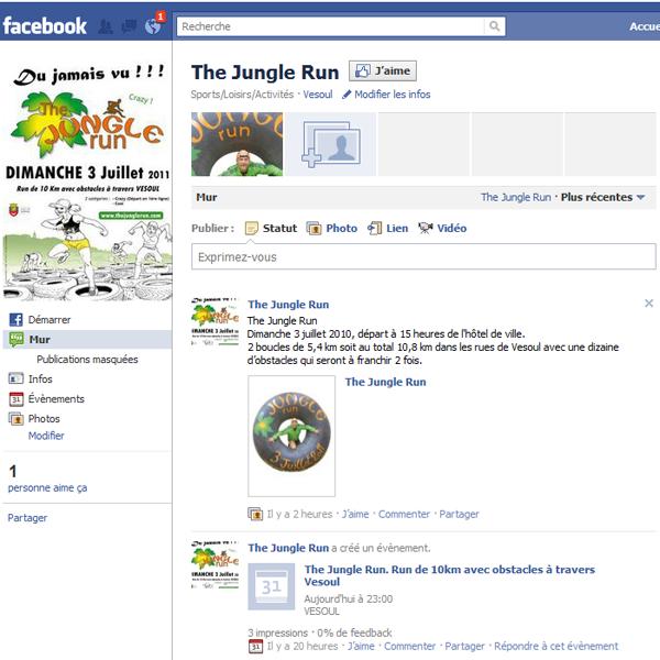 La page facebook de jungle Run